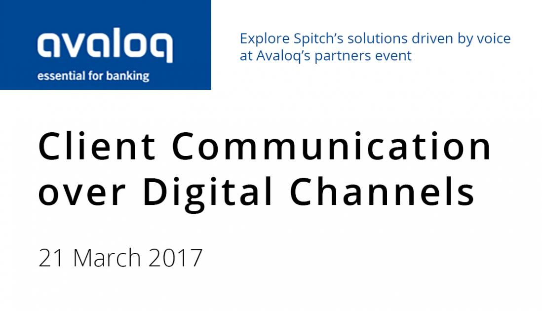 Explore Spitch's solutions driven by voice at Avaloq's partners event
