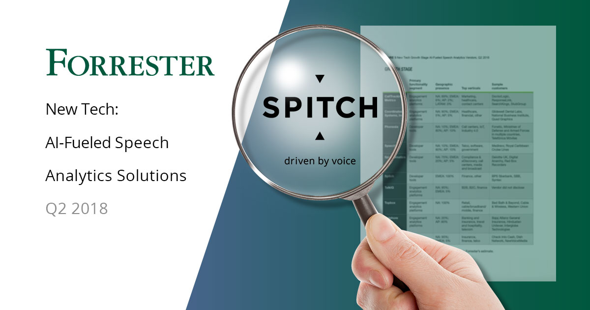 Spitch Recognised by Forrester as a Growth Stage Company
