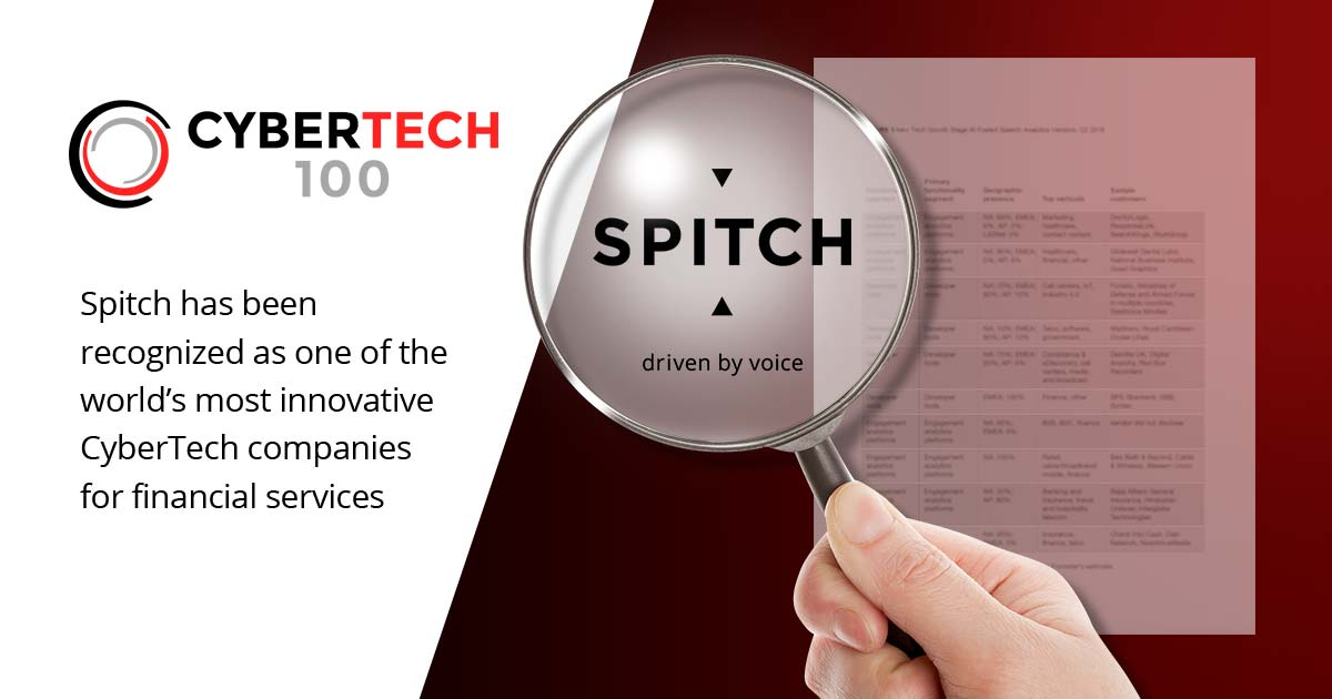 Spitch is in CyberTech100 List of the World's Most Innovative Providers of Digital Solutions for Financial Services Companies